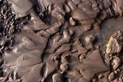 Orilla glacial del riverbank con fango negro mojado de la arena del légamo fotografía de archivo