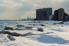 Orilla helada de Chicago fotos de archivo libres de regalías