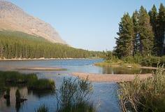 Orilla herbosa del lago Fishercap en Parque Nacional Glacier en Montana los E.E.U.U. imagenes de archivo