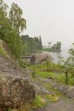 Orilla rocosa con los arbustos, la hierba y los árboles en la orilla del favorable Fotografía de archivo