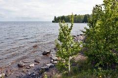 Orilla rocosa del lago, a través del agua clara usted puede ver la parte inferior Fotos de archivo