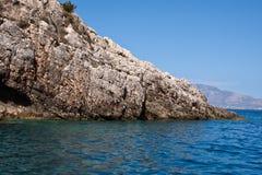 Orilla rocosa - isla de Zakynthos Foto de archivo libre de regalías