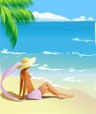 Orilla tropical stock de ilustración