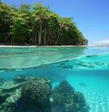 Orilla tropical por encima y por debajo de la superficie del mar imagenes de archivo
