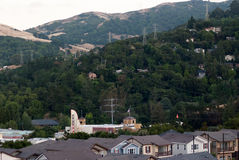 Orinda Hills. The Orinda theater in front of the Orinda hills Royalty Free Stock Images