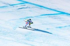 ORINE SUTER SUI participa na corrida para a raça SUPER de G o WOMANÂ dos FINAIS do MUNDO do ESQUI do FIS Ski World Cup Finals alp fotografia de stock royalty free