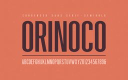 Orinoko condensed semibold san serif vector font, alphabet, typeface. Uppercase letters and numbers royalty free illustration