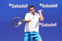 Oriol Roca Batalla (Spanish tennis player) plays at the ATP Barcelona Open Banc Sabadell Conde de Godo. BARCELONA - APR 18: Oriol Roca Batalla (Spanish tennis Stock Images