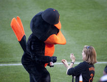 The Oriole Bird signs a baseball for a fan Royalty Free Stock Photo