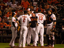 Orioles on the Mound Stock Photo