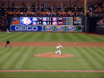 Orioles pitcher Wei-Yin Chen throws ball from mound Stock Image