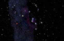 Orion constellation in the deep sky stock illustration