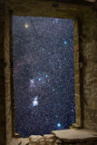 Orion constellations ancient window Stock Photo