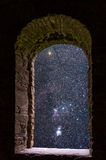 Orion constellations ancient window Stock Image