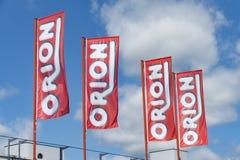 ORION Flags contra el cielo Foto de archivo libre de regalías