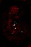 Orion-Konstellation, beschriftet Künstlereindruck. Lizenzfreies Stockfoto