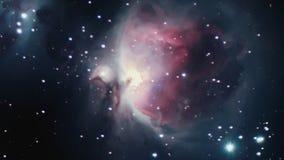 Orion Nebula Cielo nocturno Orion Nebula en la constelación Orión almacen de video