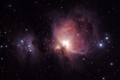 Orion Nebula - M42. Image of Orion Nebula (Messier M42) and the Running Man Nebula (NGC1977, left), two diffuse nebulas south of the Orion's belt in the Stock Photography