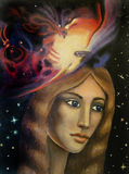 Orion nebula. Portrait of a girl with a nebula of Orion Royalty Free Stock Photography