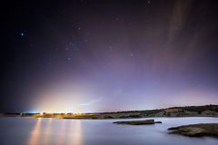 Orion over Delimara. A clear winter sky over Delimara Bay in the South of Malta royalty free stock photo