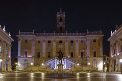 Orion is rising above Palazzo Senatorio, Capitoline Hill, in Rome, Italy Stock Images