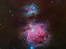 Orion and Running Man Nebula in Orion. The Orion Nebula (Messier 42, M42, or NGC 1976) is a bright nebula in the constellation of Orion. It is one of the Royalty Free Stock Photography