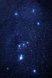 Orion stars universe. Universe space image: real photo of starry night sky with the winter Orion constellation. The shot was done with total exposure time 54 Royalty Free Stock Photo