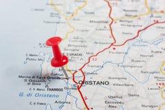 Oristano steckte auf eine Karte von Italien fest Lizenzfreies Stockfoto