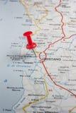 Oristano steckte auf eine Karte von Italien fest Lizenzfreie Stockfotos