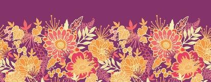 Orizzontale dei fiori e delle foglie di caduta senza cuciture Immagine Stock