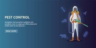 Orizzontale dell'insegna di controllo dei parassiti, stile del fumetto royalty illustrazione gratis