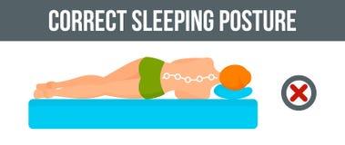 Orizzontale dell'insegna di posizione di sonno del letto, stile piano illustrazione di stock