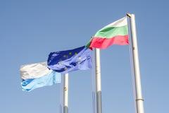 Orizzontale 3 delle bandiere di Europa e del bulgaro Immagine Stock Libera da Diritti