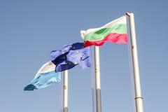 Orizzontale 2 delle bandiere di Europa e del bulgaro Fotografia Stock
