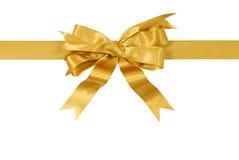 Orizzontale diritto dell'arco del nastro del regalo dell'oro giallo isolato su fondo bianco Fotografie Stock Libere da Diritti