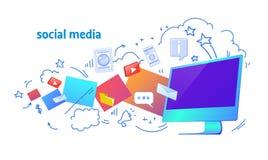 Orizzontale online di scarabocchio di schizzo di comunicazione della rete di applicazione informatica di sincronizzazione sociale illustrazione di stock