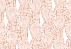 Orizzontale senza cuciture alzato del modello delle mani Immagini Stock