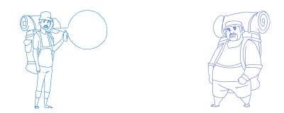 Orizzontale turistico di scarabocchio di schizzo di comunicazione della bolla di chiacchierata dello zaino di due uomini del viag illustrazione vettoriale