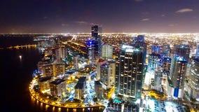 Orizzonte aereo del centro di notte di Miami Immagine Stock Libera da Diritti