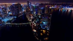 Orizzonte aereo del centro di notte di Miami Fotografie Stock