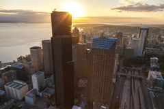 Orizzonte aereo della città della foto, Seattle, Washington, U.S.A. Fotografia Stock Libera da Diritti