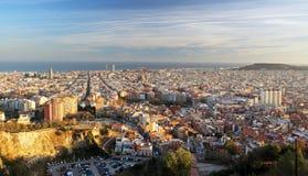 Orizzonte al tramonto, Spagna di Barcellona Fotografia Stock Libera da Diritti