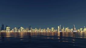 Orizzonte astratto della città riflesso in acqua 4K stock footage