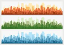 Orizzonte astratto della costruzione della città - fondo orizzontale dell'insegna di web Siluetta della città Paesaggio urbano de Immagine Stock Libera da Diritti