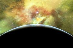 Orizzonte astratto della terra di un universo di fantasia riempito di stelle, di nebulosa e di galassia fotografia stock libera da diritti
