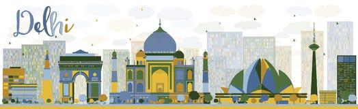 Orizzonte astratto di Delhi con i punti di riferimento di colore royalty illustrazione gratis