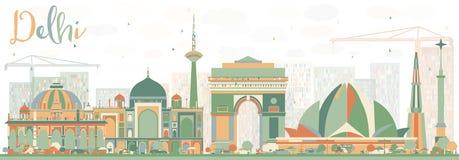 Orizzonte astratto di Delhi con le costruzioni di colore royalty illustrazione gratis