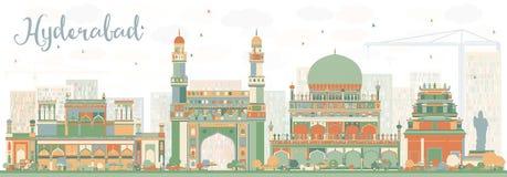 Orizzonte astratto di Haidarabad con i punti di riferimento di colore Immagini Stock Libere da Diritti