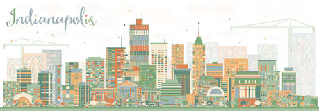 Orizzonte astratto di Indianapolis con le costruzioni di colore Fotografia Stock Libera da Diritti