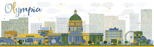 Orizzonte astratto di Olimpia (Washington) con le costruzioni di colore Fotografie Stock